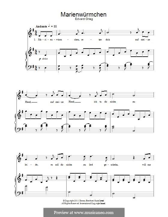 Marienwürmchen: Für Stimme und Klavier by Эдвард Григ