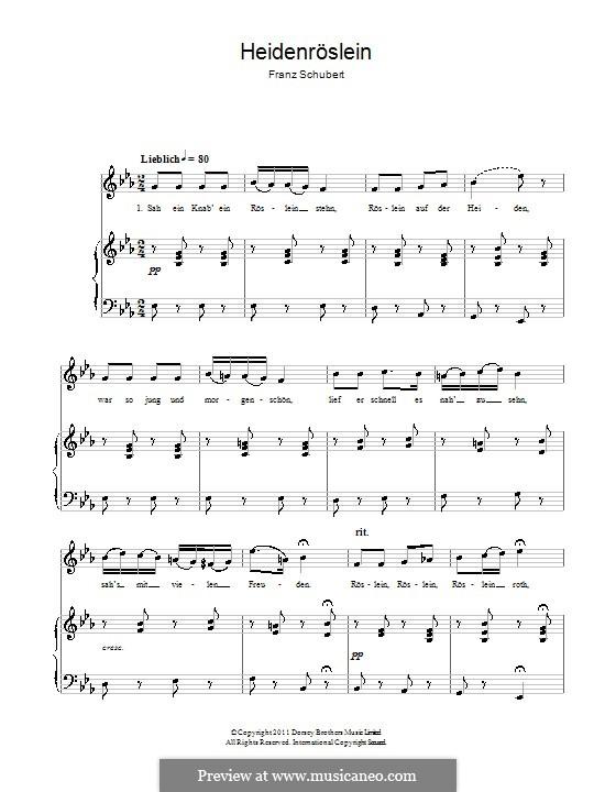 Дикая роза, D.257 Op.3 No.3: Клавир с вокальной партией by Франц Шуберт