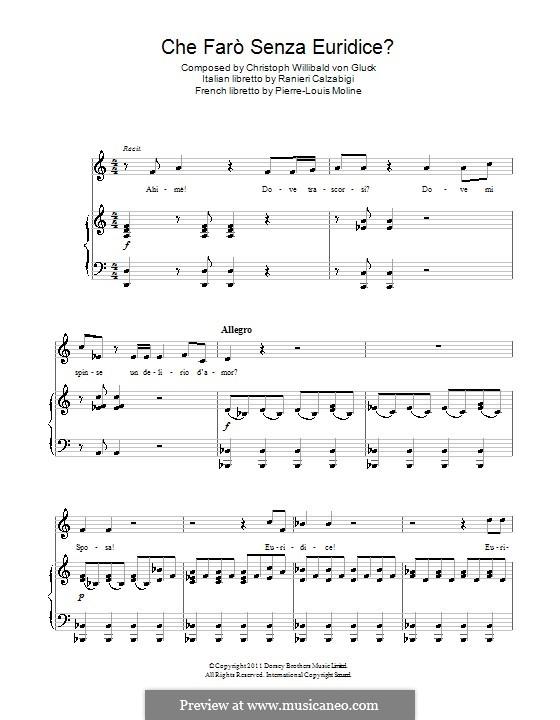 Che farò senza Euridice: Для голоса и фортепиано by Кристоф Виллибальд Глюк