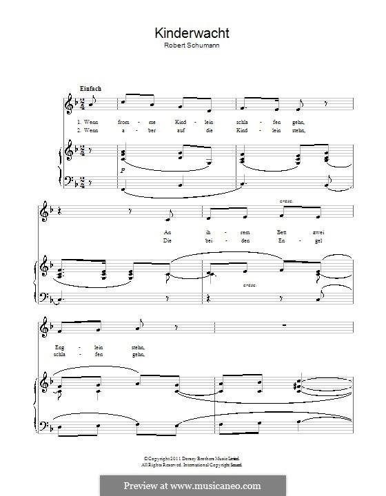 Альбом песен для юношества, Op.79: No.22 Kinderwacht (The Children's Watch) by Роберт Шуман