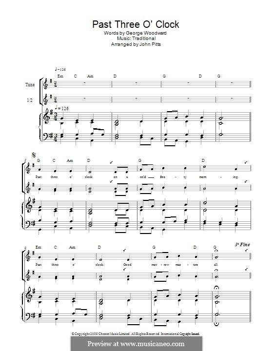 Past Three O'Clock: Для блокфлейты (trio) by George Ratcliffe Woodward