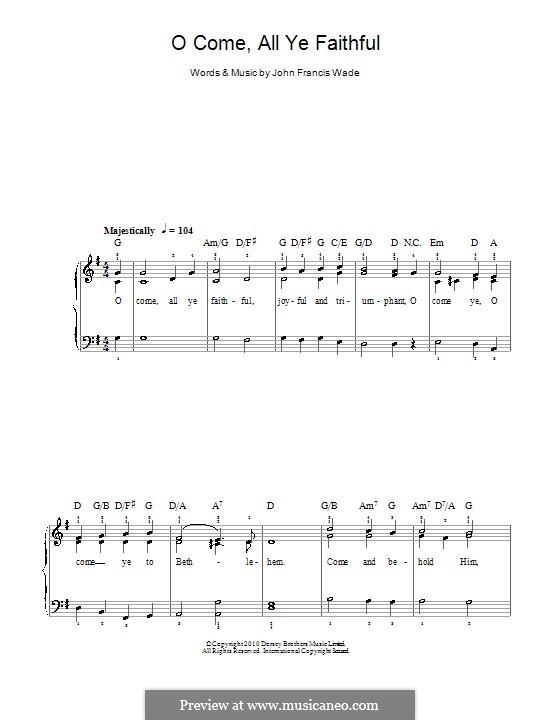 Придите к Младенцу, для фортепиано: Легкая версия для фортепиано by Джон Фрэнсис Уэйд