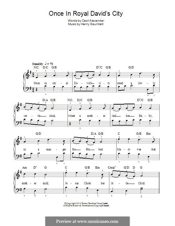 Once in Royal David's City: For easy piano (with chords) by Henry John Gauntlett