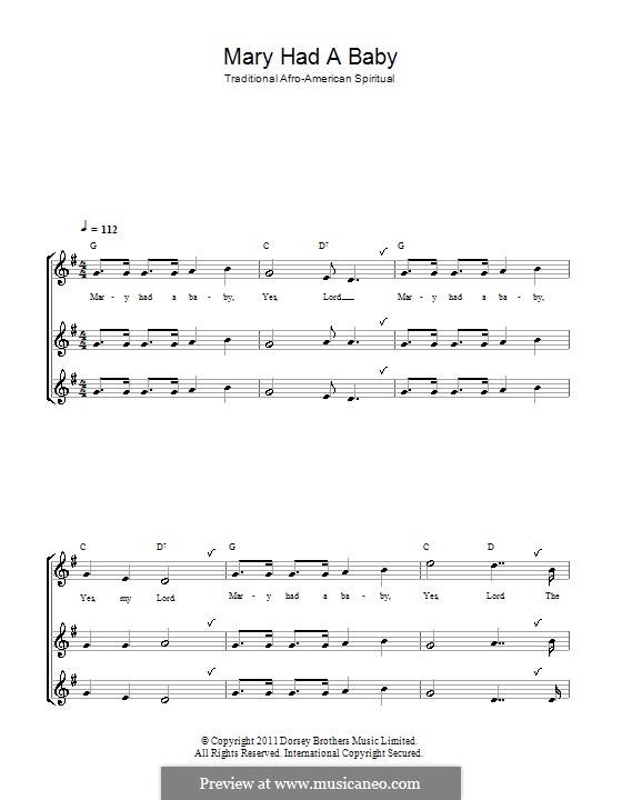 Mary Had a Baby: Для блокфлейты (trio) by folklore