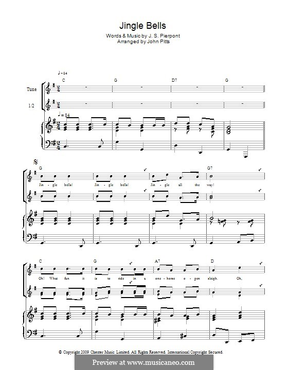 Jingle Bells (Printable scores): Для блокфлейты by James Lord Pierpont