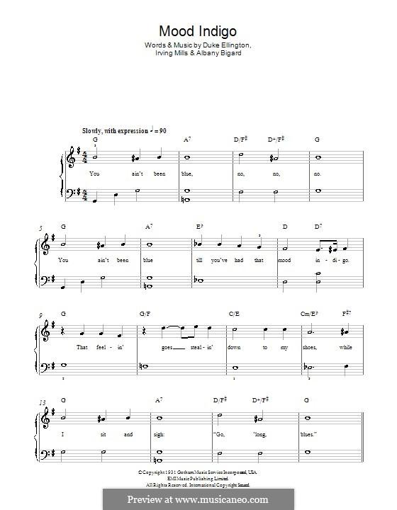 Mood Indigo: Для фортепиано (легкий уровень) by Irving Mills, Albany Bigard, Duke Ellington