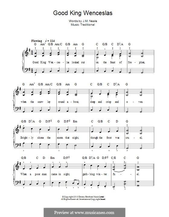 Good King Wenceslas: Для фортепиано (легкий уровень) by folklore