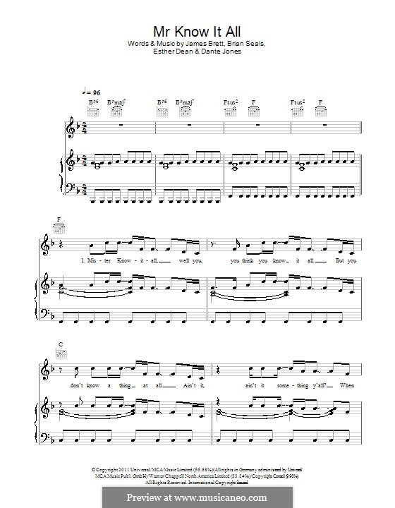 Mr. Know It All (Kelly Clarkson): Для голоса и фортепиано (или гитары) by Brett James, Brian Kennedy Seals, Dante Jones, Esther Dean