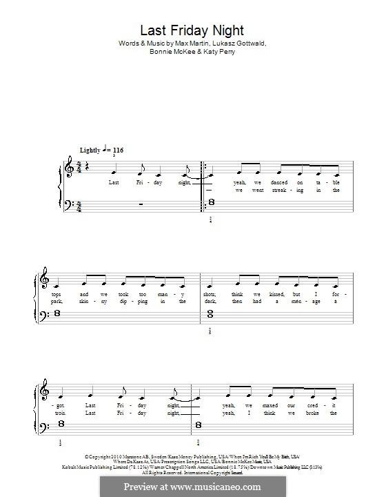 Last Friday Night (T.G.I.F.): Для фортепиано by Bonnie McKee, Katy Perry, Lukas Gottwald, Max Martin