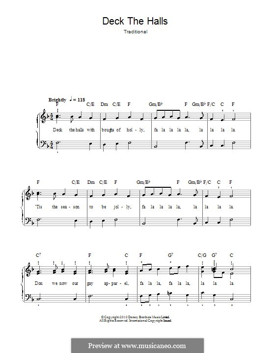 Deck the Hall, for Piano: Easy version (with chords) by folklore