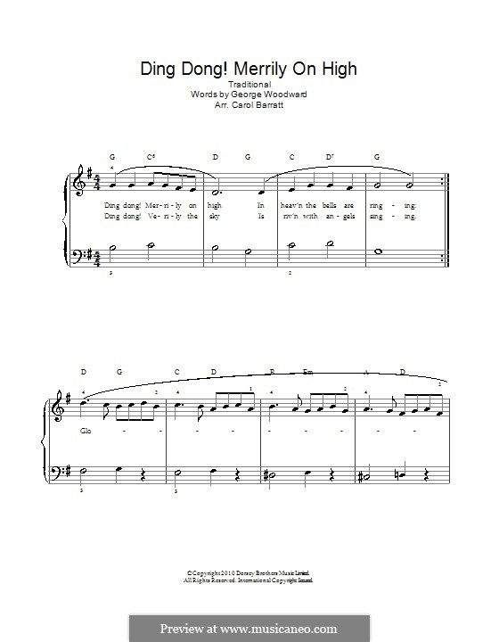 Ding Dong! Merrily on High (Printable Scores): Для голоса и фортепиано by folklore