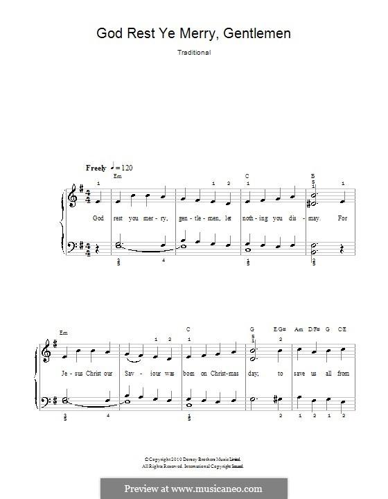 God Rest You Merry, Gentlemen, for Piano: Легкая версия для фортепиано by folklore