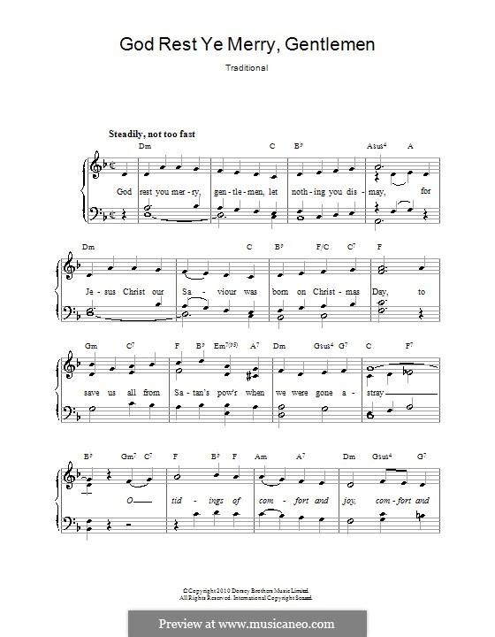 God Rest You Merry, Gentlemen (Printable Scores): Для голоса и фортепиано (или гитары) by folklore