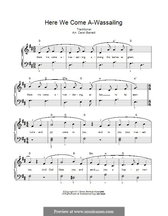 Here we Come a-Wassailing (Printable Scores): Для голоса и фортепиано by folklore