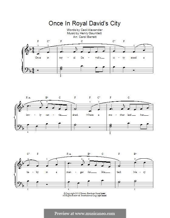 Once in Royal David's City: For voice and piano by Henry John Gauntlett