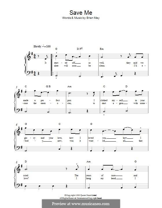 Save Me (Queen): Для фортепиано (легкий уровень) by Brian May