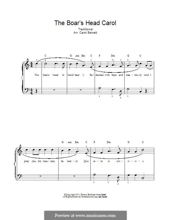 The Boar's Head Carol: Для голоса и фортепиано by folklore