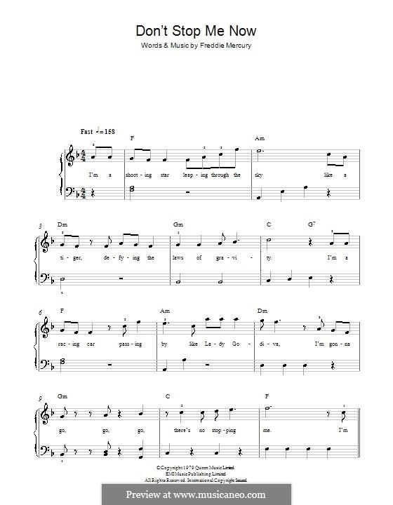 Don't Stop Me Now (Queen): Для фортепиано (легкий уровень) by Freddie Mercury