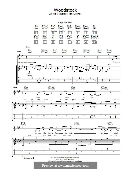 Woodstock (Eva Cassidy): Гитарная табулатура by Joni Mitchell