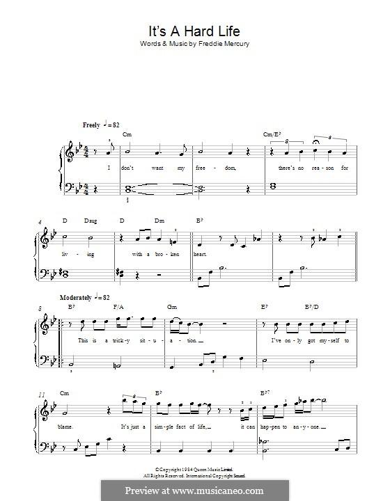 It's a Hard Life (Queen): Для фортепиано (легкий уровень) by Freddie Mercury