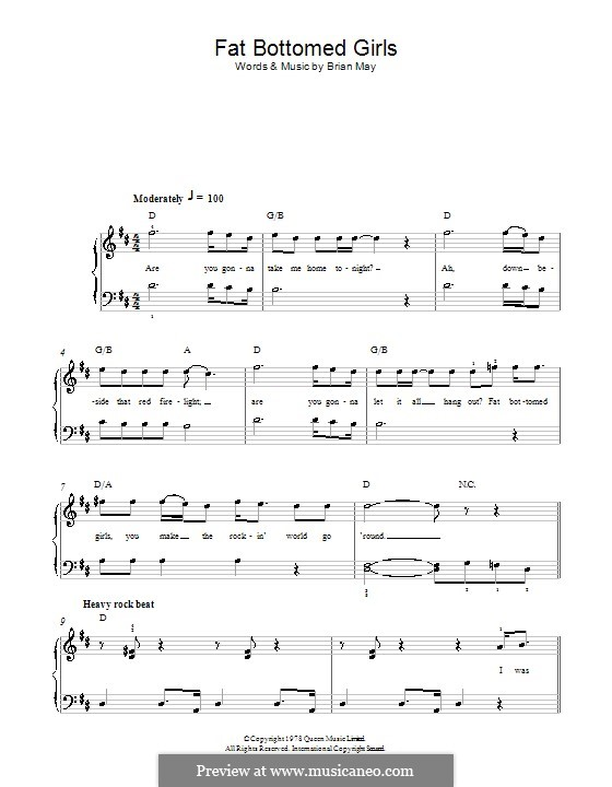 Fat Bottomed Girls: Для фортепиано (легкий уровень) (Queen) by Brian May