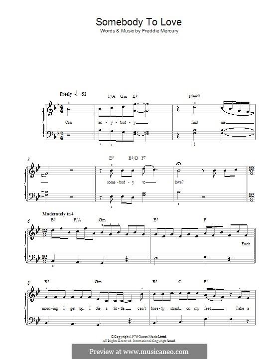 Somebody to Love (Queen): Для фортепиано (легкий уровень) by Freddie Mercury