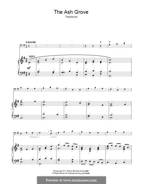 The Ash Grove: Для виолончели и фортепиано by folklore