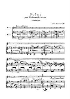Поэма ми-бемоль мажор, Op.25: Для скрипки и фортепиано – партитура, сольная партия by Эрнест Шоссон
