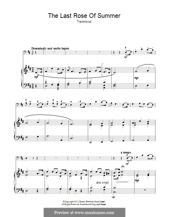 The Last Rose of Summer: Для виолончели и фортепиано by folklore