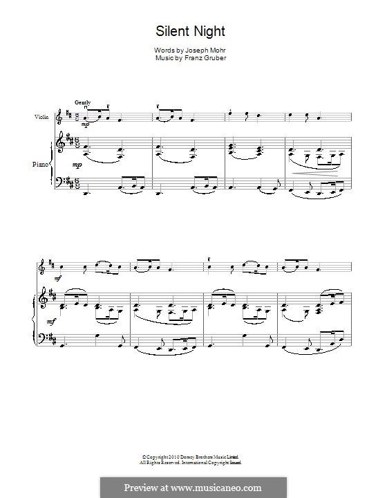 Тихая ночь (ноты для печати): Для скрипки и фортепиано by Франц Ксавьер Грубер