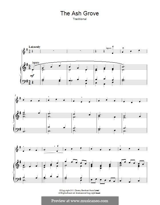 The Ash Grove: Для скрипки и фортепиано by folklore