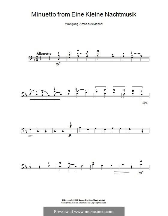 Менуэт: Для виолончели и фортепиано – партия виолончели by Вольфганг Амадей Моцарт
