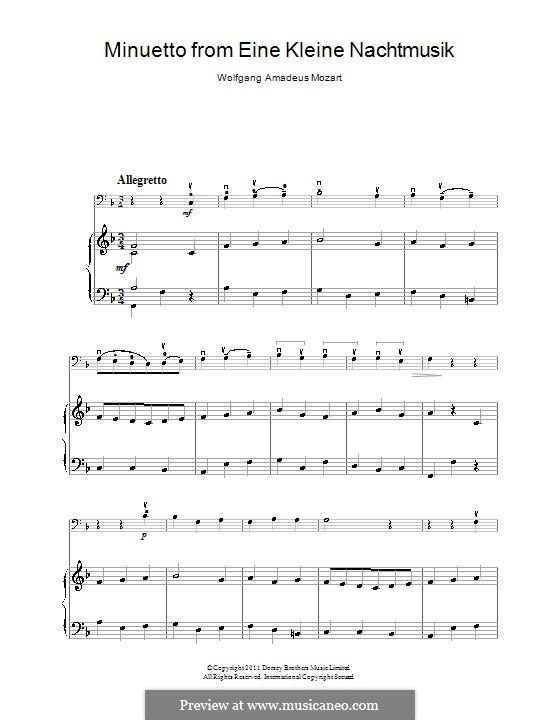 Менуэт: Для виолончели и фортепиано by Вольфганг Амадей Моцарт