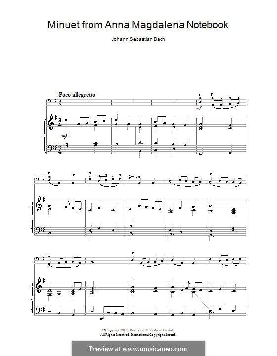 No.4 Менуэт соль мажор, BWV Anh.114: Для виолончели и фортепиано by Иоганн Себастьян Бах