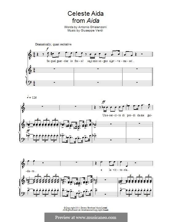 Celeste Aida: Для голоса и фортепиано by Джузеппе Верди