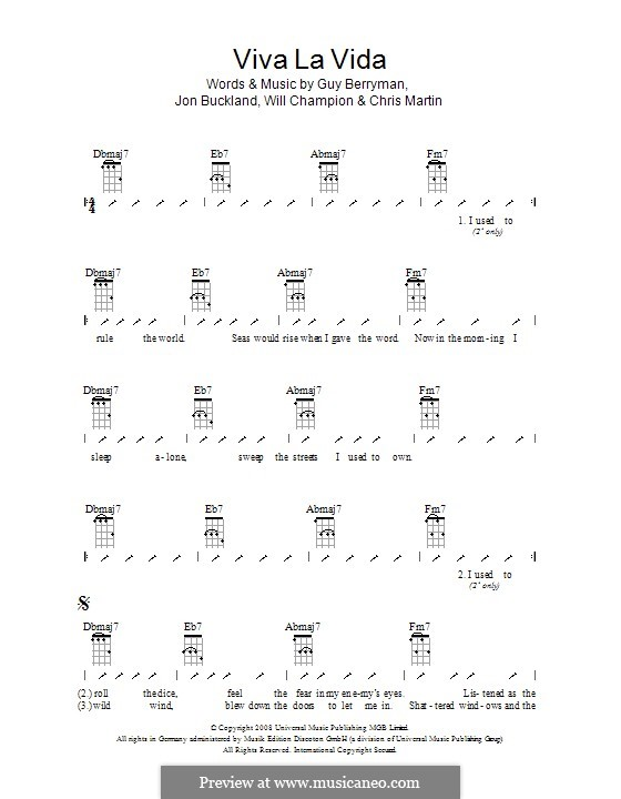 Instrumental version: Укулеле с вариантами боя by Chris Martin, Guy Berryman, Jonny Buckland, Will Champion