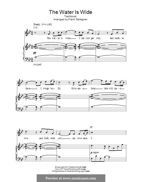 The Water is Wide: Для голоса и фортепиано или гитары (си бемоль мажор) by folklore