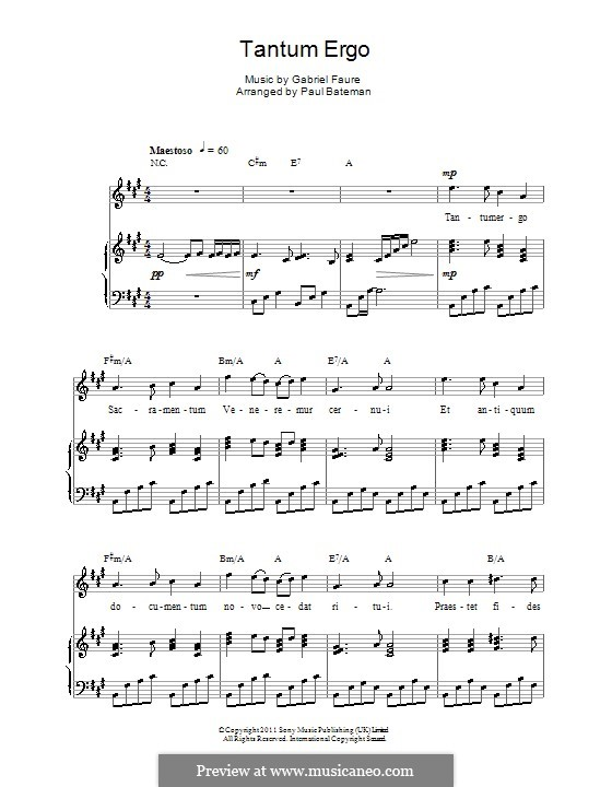 Tantum ergo, Op.55: Для голоса и фортепиано (или гитары) by Габриэль Форе