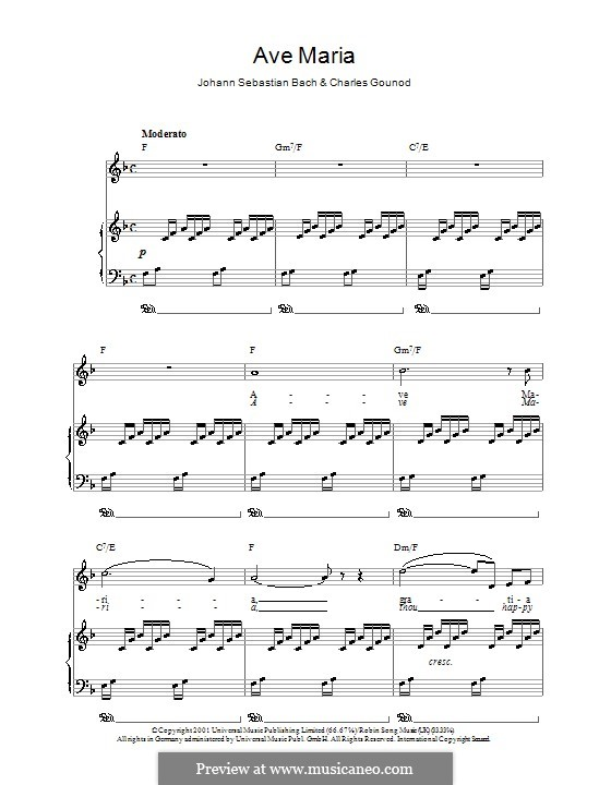 Ave Maria (Printable Sheet Music): Для голоса и фортепиано или гитары (фа-мажор) by Иоганн Себастьян Бах, Шарль Гуно