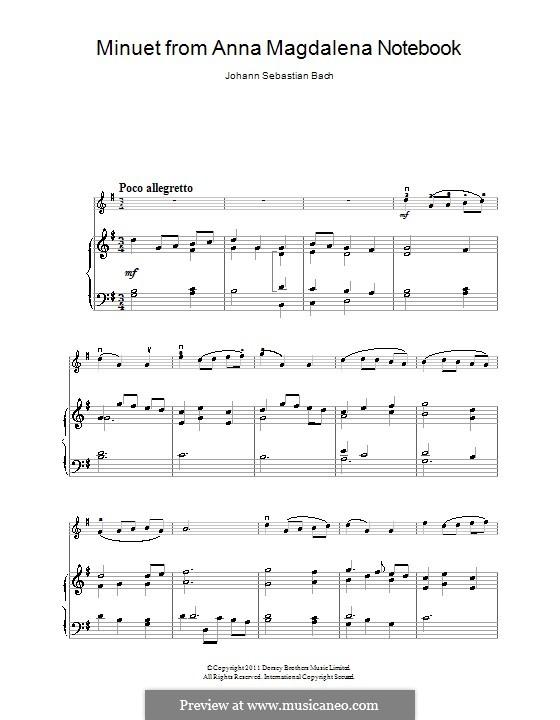 No.4 Менуэт соль мажор, BWV Anh.114: Для скрипки и фортепиано by Иоганн Себастьян Бах