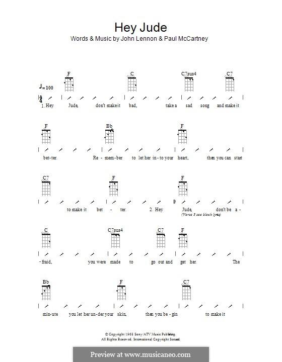 Hey Jude (The Beatles), for One Instrument: Для укулеле с вариантом боя by John Lennon, Paul McCartney