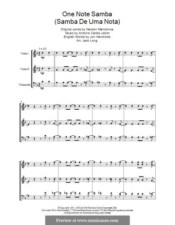 One Note Samba (Samba De Uma Nota): For string ensemble by Antonio Carlos Jobim