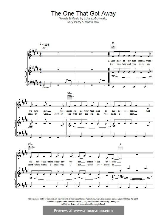 The One That Got Away: Для голоса и фортепиано (или гитары) by Katy Perry, Lukas Gottwald, Max Martin