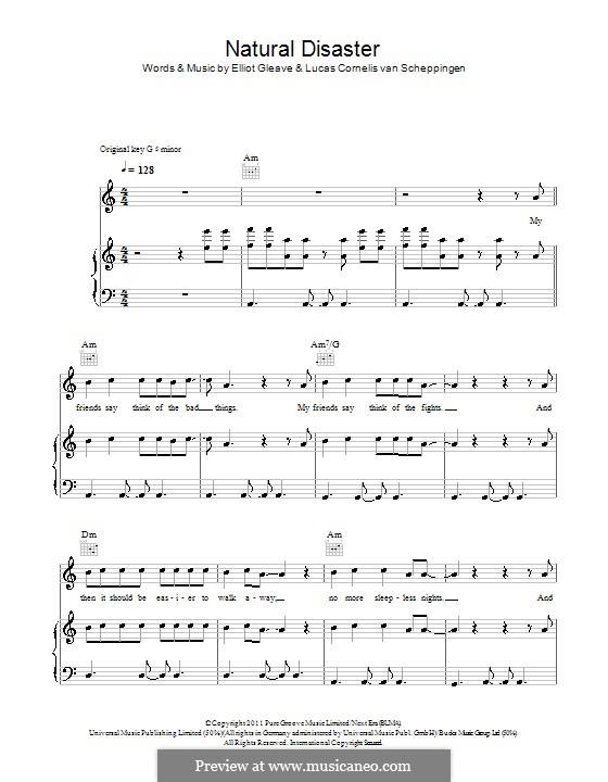 Natural Disaster (Example feat. Laid Back Luke): Для голоса и фортепиано (или гитары) by Elliot Gleave, Lucas Cornelis van Scheppingen