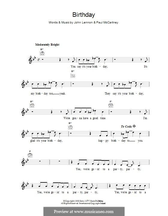 Birthday (The Beatles): Мелодия, текст и аккорды by John Lennon, Paul McCartney