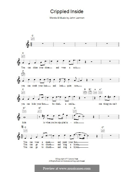 Crippled Inside: Мелодия, текст и аккорды by John Lennon