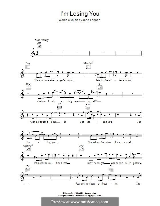 I'm Losing You: Мелодия, текст и аккорды by John Lennon