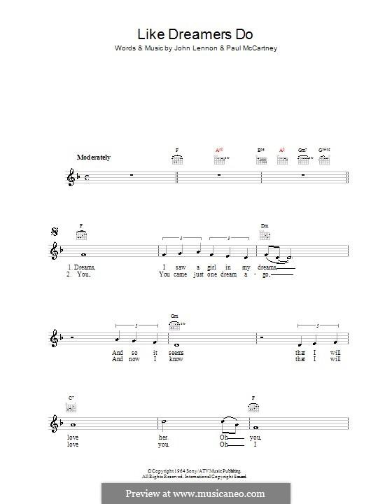 Like Dreamers Do (The Beatles): Мелодия, текст и аккорды by John Lennon, Paul McCartney