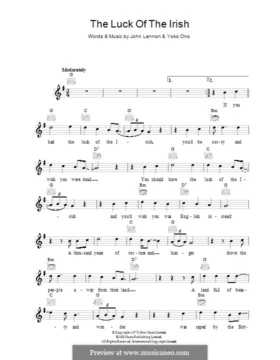 The Luck of the Irish: Мелодия, текст и аккорды by John Lennon, Yoko Ono