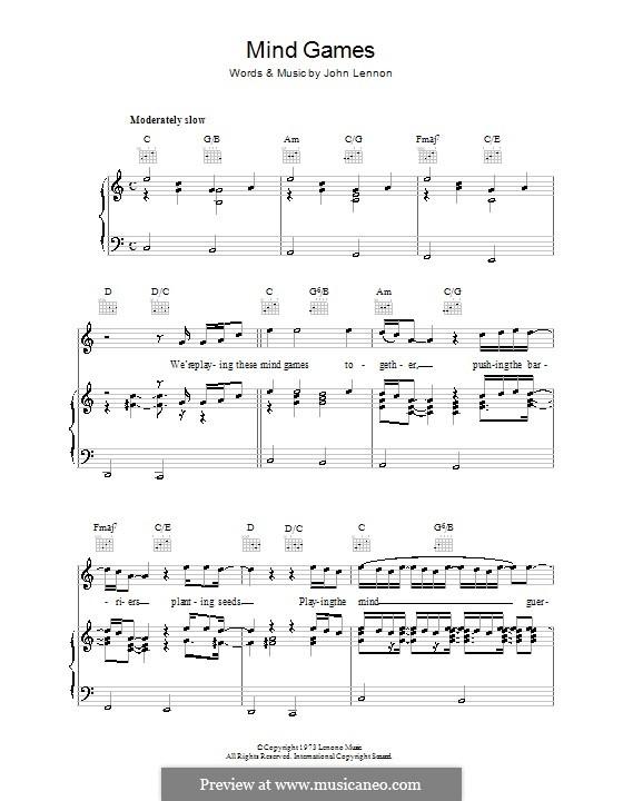 Mind Games: Для голоса и фортепиано (или гитары) by John Lennon